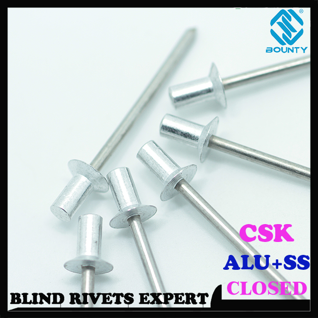CSK HEAD ALU/SS CLOSED END BLIND RIVETS